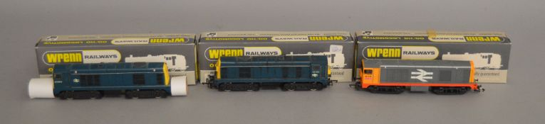 OO Gauge. 3 boxed Wrenn Locomotives including a  W2230 Bo-Bo Diesel Electric BR blue, a Non