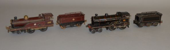O Gauge. 2 unboxed tinplate clockwork Locomotives with Tenders, a Bing for Bassett Lowke 'King
