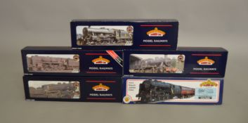 OO Gauge. 5 boxed Bachmann Steam Locomotives including 31-251 4-6-0  Rebuilt Jubilee Class 45736