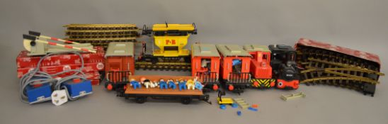 G scale. A very good quantity of unboxed Playmobil railway items including two Locomotives, two