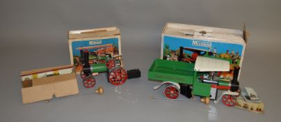 LIVE STEAM. A boxed Mamod S.W.1 Steam Wagon in green/white with red chassis together with a Mamod