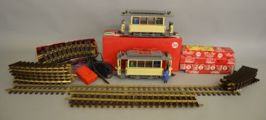 G scale. A very good quantity of LGB railway items including two Street Cars, one motorised, one