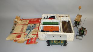 G Gauge. A boxed Lehmann LGB #20401 Goods Set containing Locomotive, Closed Van, Open Truck, track