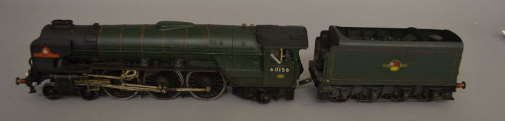 O Gauge. An  unboxed kit built 4-6-2 Locomotive and Tender 'Great Central 60156' in BR green,