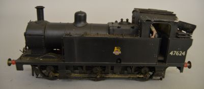 O Gauge. An unboxed kit built 0-6-0 Tank Locomotive '47624' in BR black, overall appears G.