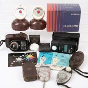 A Group of Nine Good Hand-Held Exposure Meters. To include Gossen Lunalite in makers box & a Minolta