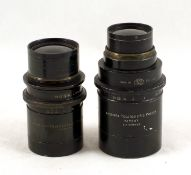 Two Ross Black-Painted Brass Lenses. 9 inch f5.4 Telecentric (with poor yellow filter), rear