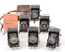 Six Ensign Selfix 220 Folding Cameras. Various lens and shutter combinations. (all condition 5F to