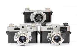 Three Kodak 35 Rangefinder Cameras, inc Rare Military Model. #336 with Kodak 26mm f2 lens and with