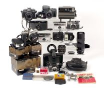 Boxed Olympus OM2n Outfit, Plus Other Vintage Cameras. To include Olympus OM2n body (condition