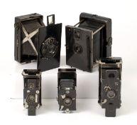 Rare Contessa Pixie & Four Other Folding Strut Cameras. Comprising Butchers Ensignette No.1 (