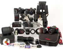A Large Box of Minolta & Canon Cameras & Lenses. To include Canon T70, Minolta 7000i & 8000i AF