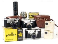 Three Corfield Periflex Cameras, with Lenses & Accessories. To include Periflex 2 (shutter sticks