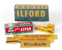 Group of Film Advertising Display Items. Comprising a large, cardboard hanging Ilford 4-sided FP3