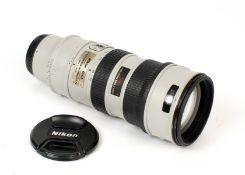 DESCRIPTION CHANGE. GREY Nikkor AF-S VR 70-200mm f2.8 G Lens. #252994. Slight paint loss to