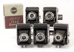 Five Ensign 16-20 Folding Roll Film Cameras, 1 Boxed. Versions I & II and with various shutter/