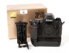 Nikon F6 Film Camera Body with MB-40 Battery Grip. Body #0020090 (condition 5F). With EN-EL4
