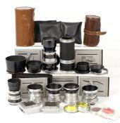 Box of Various AGI Agiflex Cameras Lenses, I & II/III Fittings. 80mm f2.8; 80mm f3.5 x3; 16cm f5.