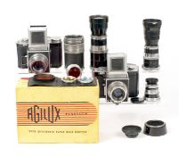 A Good Agiflex III 120 SLR Outfit. To include an Agiflex III with 80mm f2.8 lens (condition 4/5F).