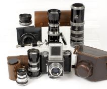 Extensive AGI Agiflex III Outfit. Comprising camera body with 80mm f2.8 lens; 16cm f5.5 ; 24cm f5.5;