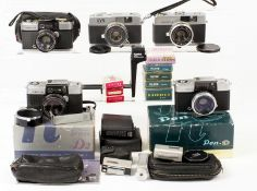 Five Half Cameras, Various Manufacturers. Comprising Olympus Pen D2, boxed with case, etc; Olympus