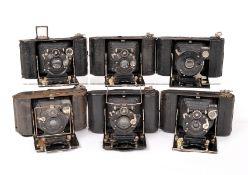 Six Butcher Watch Pocket Folding Carbine Cameras. Various models, lens & shutter combinations (