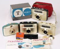 Group of Four Penti Half Frame Cameras with Gold Coloured Bodies. To include black, blue and cream