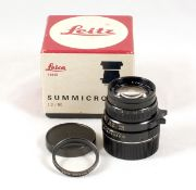 Black Leitz Canada Summicron M 50mm f2 Lens. #3360358 (condition 5F). With UVa filter and caps, in