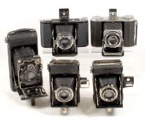 Group of Five Folding Cameras, inc Uncommon Chinese & Gitzo Models. Comprising Zeiss Ikon