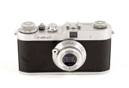 Meopta Opema with Belar 45mm f3.5 Lens. Uncommon camera, 24x32mm format on 35mm film. (condition 5F)