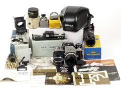 Extensive Chrome Nikon Photomic Ftn Close-Up Outfit. Comprising Nikon F body #6975020 (condition