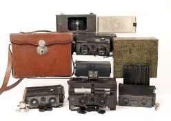 Four Stereo Cameras & Accessories. Two Richard Glyphoscope, one with focusing front, a Richard