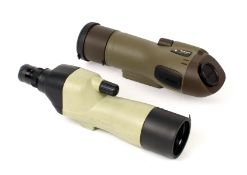 Two Nikon Spotting Scopes. Comprising a Nikon Fieldstaff D=65P waterproof body and a Nikon UA