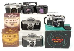Six Half Frame Cameras. Comprising Mercury & Mercury II cameras (well used) each with boxed flash