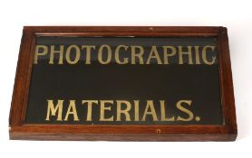 Edwardian Shop Sign 'Photographic Materials' from Smith's Chemist, Sliver Street, Durham. Hand