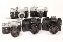 Group of Five Zenith Cameras, With Lenses. Comprising Zenit (original model); Zenith 3 with ERC;