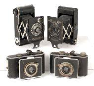 Four Folding Cameras, inc a Rare Konishi Pearlette. (Japanese copy of a Contessa Nettel Piccolette).