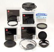Small Quantity of Leica & Other Filters, Caps etc. Comprising Leica E60 UVa filter, Leica E39 &