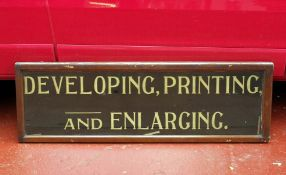 LARGE Edwardian Shop Sign 'Developing, Printing and Enlarging'. From Smith's Chemist, Sliver Street,