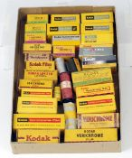 Box of Around 30 Rolls of Unused Vintage Kodak Film, Multiple Formats. (BW).