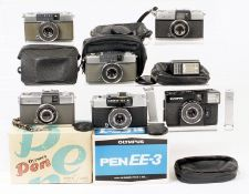 Six Olympus Half Frame Cameras. Olympus Pen, boxed; Pen EE3, boxed with case, instructions etc;