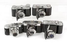 Group of Five Voigtlander Folding 35mm Cameras. Comprising Vito, Vito IIa, Vito B, Perkeo II &