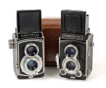 Pair of Early Mamiyaflex 120 TLRs. Early version with interlocking Sekor 7.5cm f3.5 lenses (