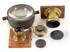 Brass Ross Lens for Whole Plate Camera. Plus a small, un-named brass lens, with panel and front