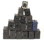 Box Camera Jenga! A Box of 17 Box Cameras. To include examples from Maxim, Kodak, Ensign etc. (all