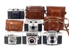 Group of Five Agfa 35mm Cameras. Comprising Optima, Karat 36, Super Silette with uncommon Solinar