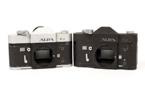 Pair of Alpa 10d Camera Bodies. Uncommon black body #56219 and chrome body #55828. (each shows