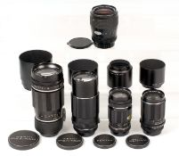 Four Pentax M42 Screw Mount Lenses & a Pentax PK Zoom. Comprising Takumar 200mm f3.5 (ding in filter