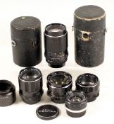 Group of Four Pentax M42 Screw Mount Lenses. Comprising FAST SCM Super Takumar 105mm f2.8 with hood;