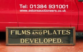 LARGE Edwardian Shop Sign 'Films and Plates Developed'. From Smith's Chemist, Sliver Street, Durham.
